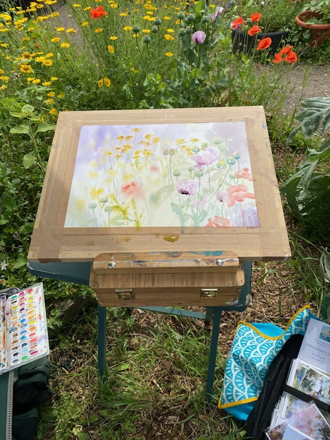 Watercolour painting of wildflowers in the garden
