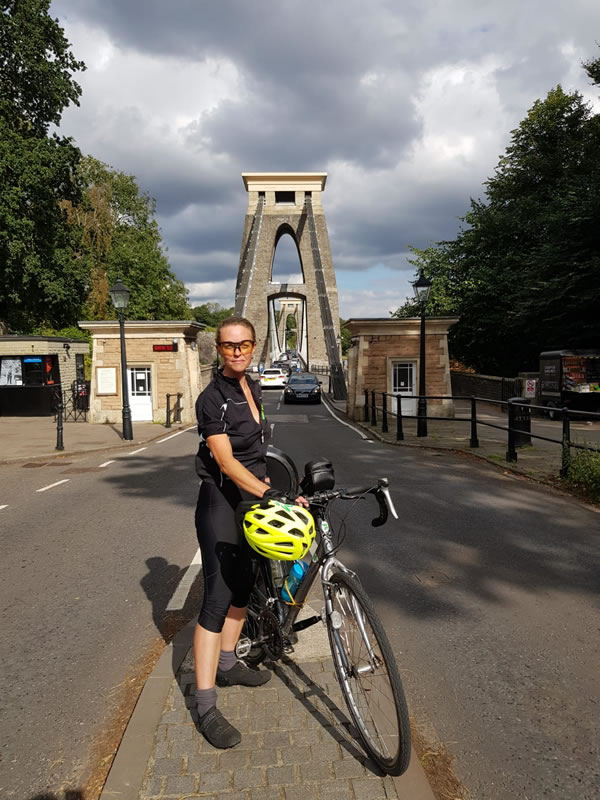 Clare in front of Clifton bridge